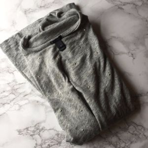 J Crew Gray Studded Three Quarter Sleeve T-Shirt